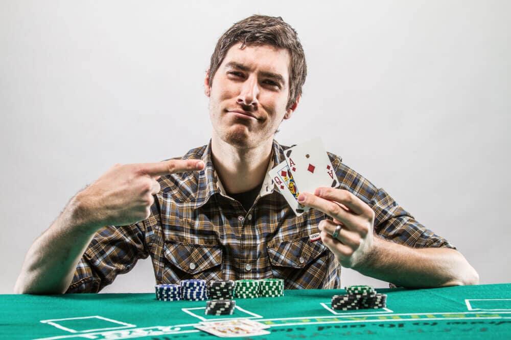 Colin Holding a Blackjack